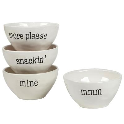It's Just Words 4-Piece Multi-Colored 6 in. x 3 in. Ice Cream Bowl Set