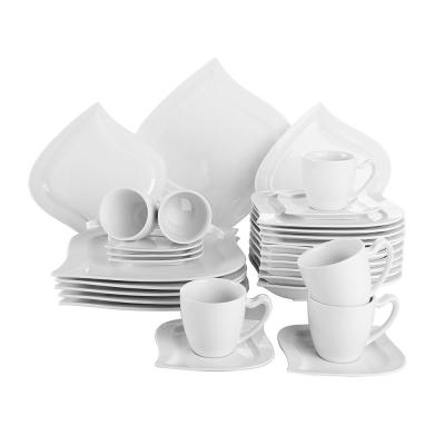 ELVIRA 30-Piece White Porcelain Dinnerware Set Dinner Plates Cups and Saucer Set (Service for 6)