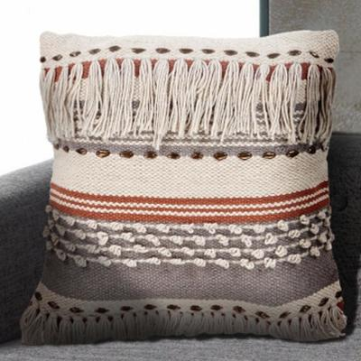 Chic Fringe Beige Striped Hypoallergenic Polyester 18 in. x 18 in. Throw Pillow