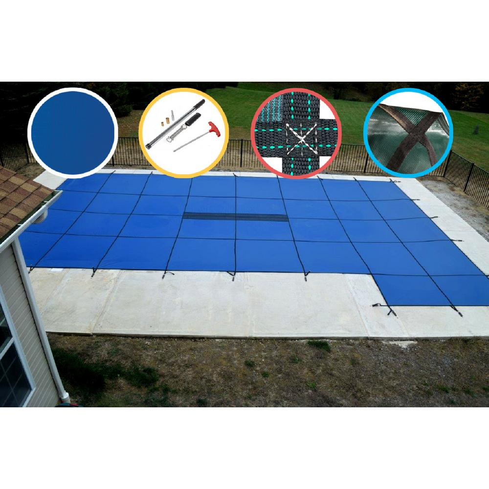 WaterWarden 20 ft. x 40 ft. Rectangle Blue Solid In-Ground Safety Pool Cover Right Side Step
