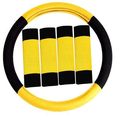 Modernistic Flat Cloth Steering Wheel Cover and 4-Seat Belt Pads