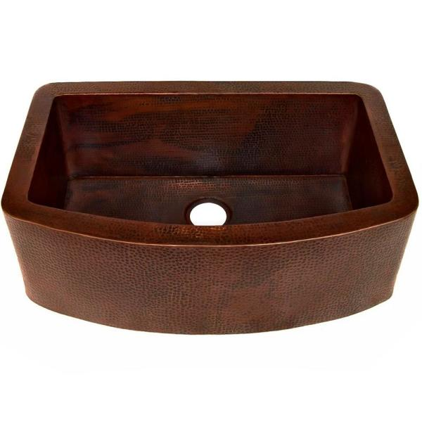 Redondeado Farmhouse Apron Front Copper 33 in. Single Bowl Kitchen Sink in Antique