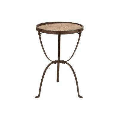 Brown Slatted Wood Design Round Side Table