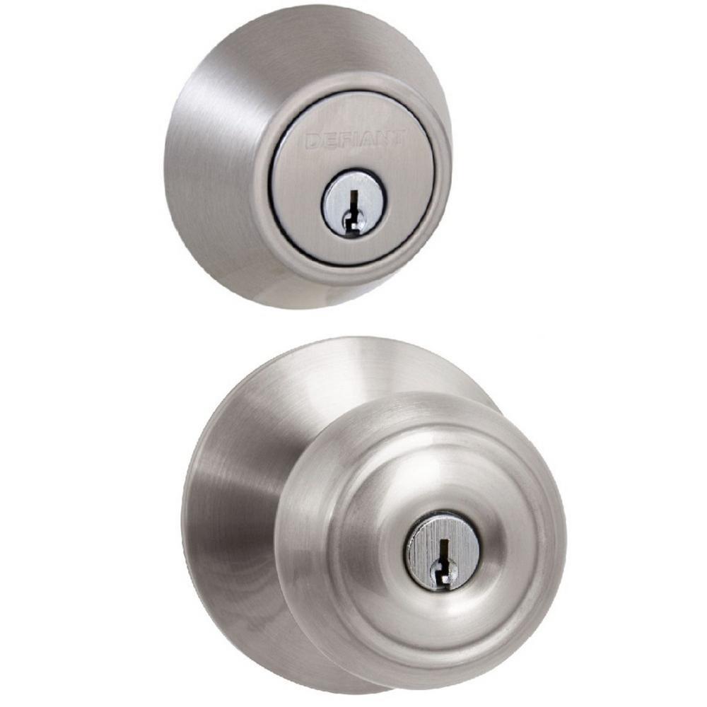 Designers Impressions Satin Nickel Double Cylinder Deadbolt Door Lock