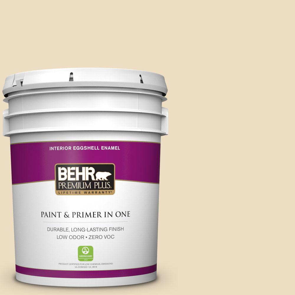 BEHR Premium Plus 5-gal. #ECC-23-1 Golden Haystack Zero VOC Eggshell Enamel Interior Paint