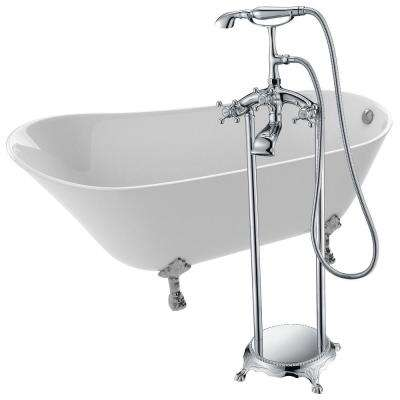 Legion 66.93 in. Acrylic Clawfoot Non-Whirlpool Bathtub in White with Tugela Faucet in Polished Chrome