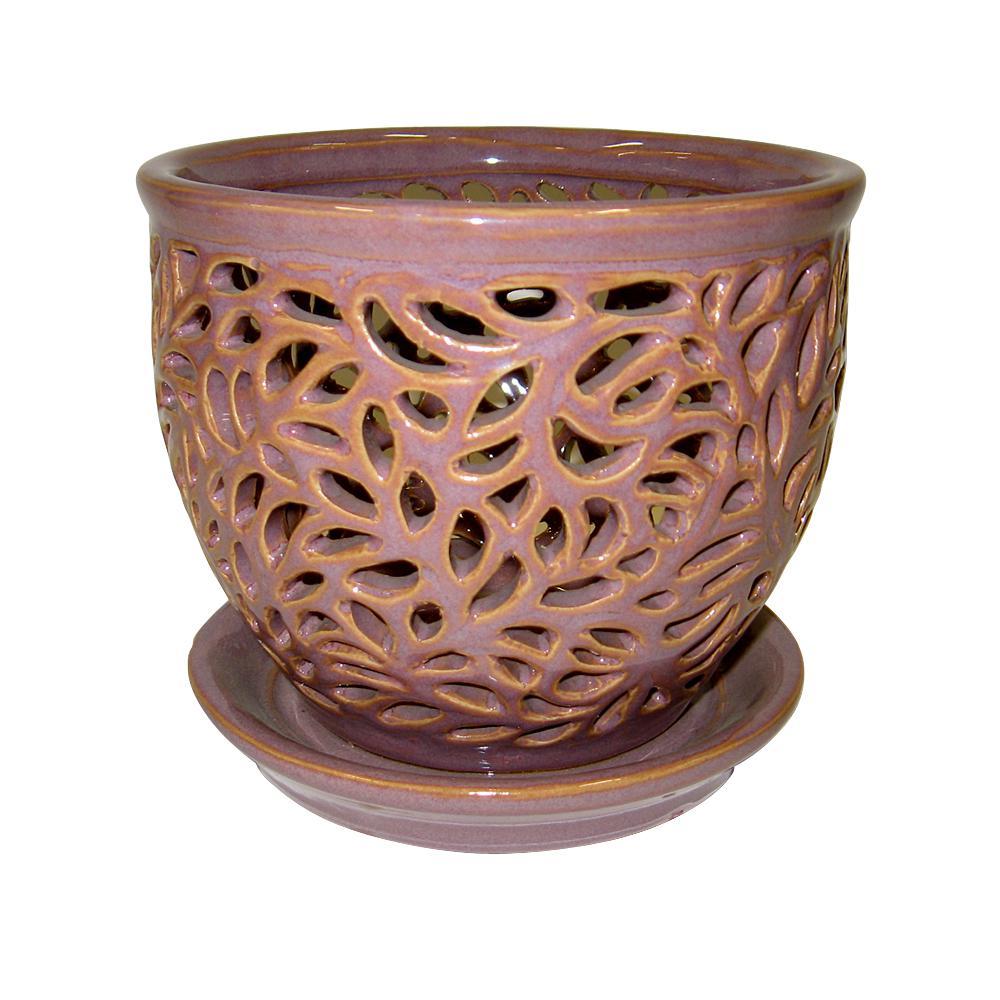 5.5 in. Small Purple Ceramic Twilight Lacey Orchid Planter