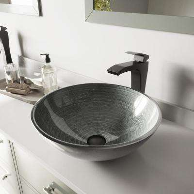 Glass Vessel Bathroom Sink in Simply Silver and Blackstonian Faucet Set in Matte Black