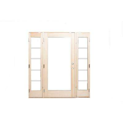72 in. x 80 in. Pro Series White 10 Lite Painted Pine Prehung Front Door with Venting Sidelites
