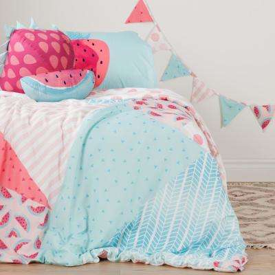 DreamIt Pink and Turquoise Watermelons and Dots Twin Comforter Set, Throw Pillows and Pennant Banner