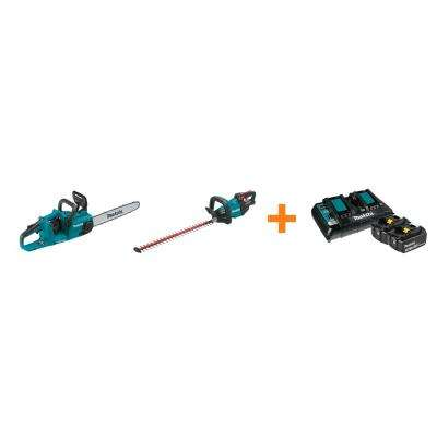 18V X2 LXT Brushless Electric 16 in. Chain Saw and 18V LXT 24 in. Hedge Trimmer with bonus 18V LXT Starter Pack