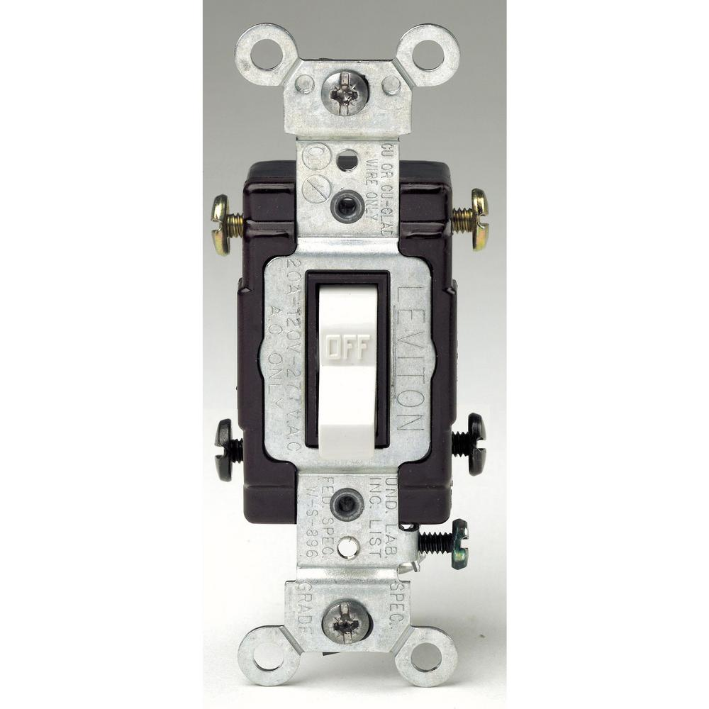 Leviton 20 Amp 120/277-Volt 2-Pole Commercial Grade AC Quiet Toggle ...