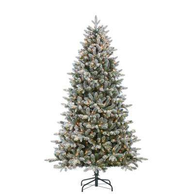 7.5 ft. Flocked Natural Cut Swiss Mountain Fir Artificial Christmas Tree with 800 Clear Lights
