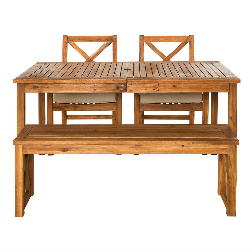 Walker Edison Furniture Company 4 Piece Brown Outdoor Acacia Wood Simple  Patio Dining Set X
