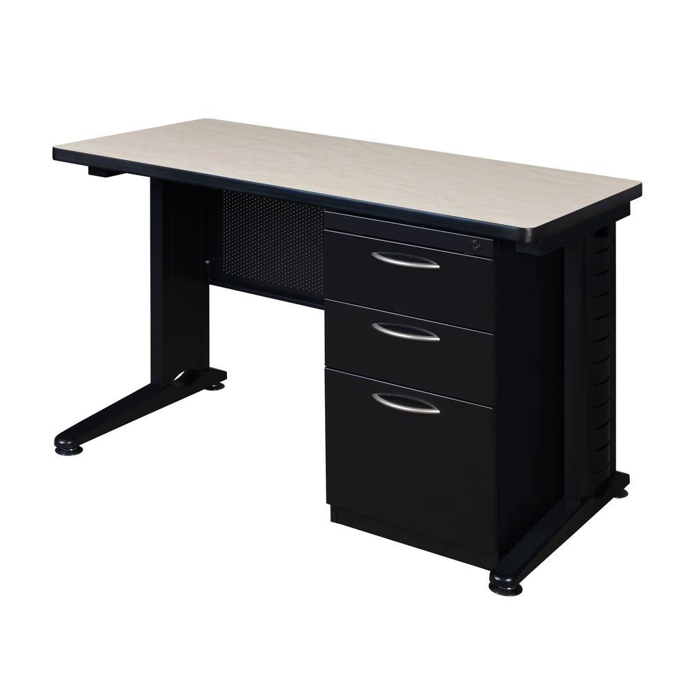 Fusion 48 in. W x 24 in. D Maple Single Pedestal Desk