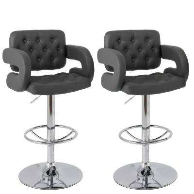 Adjustable Height Tufted Dark Grey Bonded Leather Bar Stool (Set of 2)
