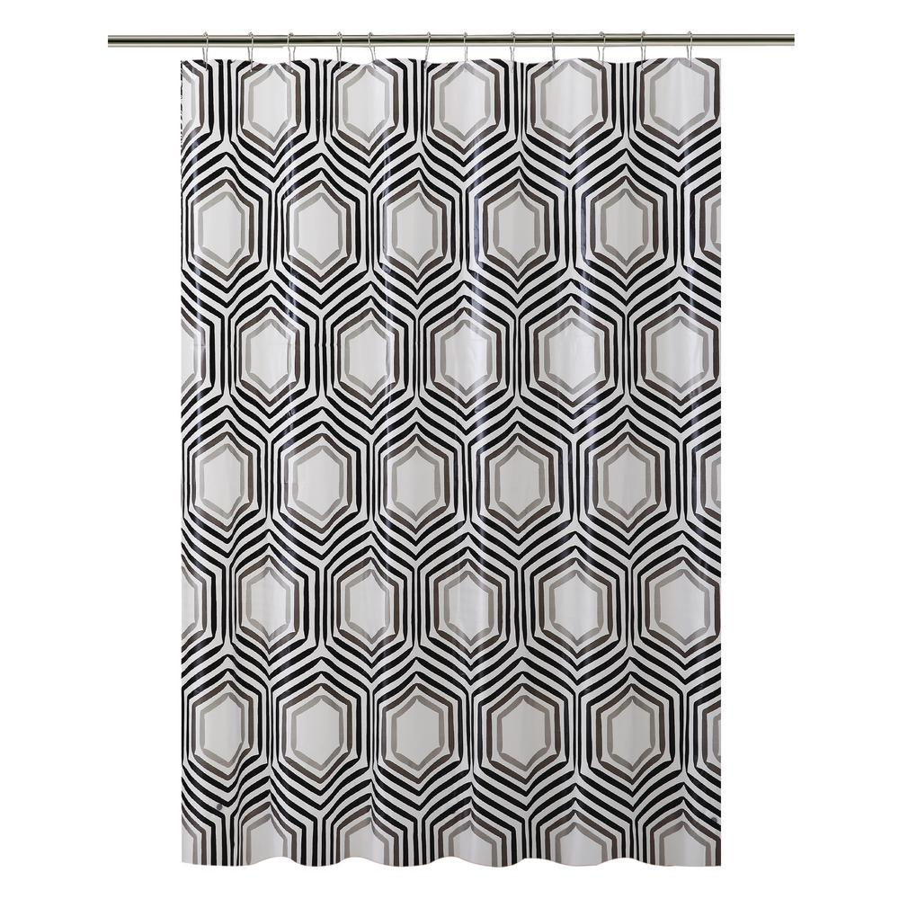 Bath Bliss PEVA 70 in. x 72 in.  Black and Clear Hexagon Design  Shower Curtain