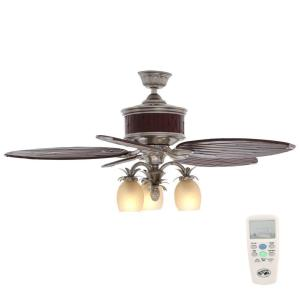 Hampton Bay Colonial Bamboo 52 inch Indoor Pewter Ceiling Fan with Light Kit and Remote Control by
