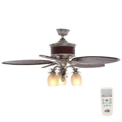 Colonial Bamboo 52 in. Indoor Pewter Ceiling Fan with Light Kit and Remote Control