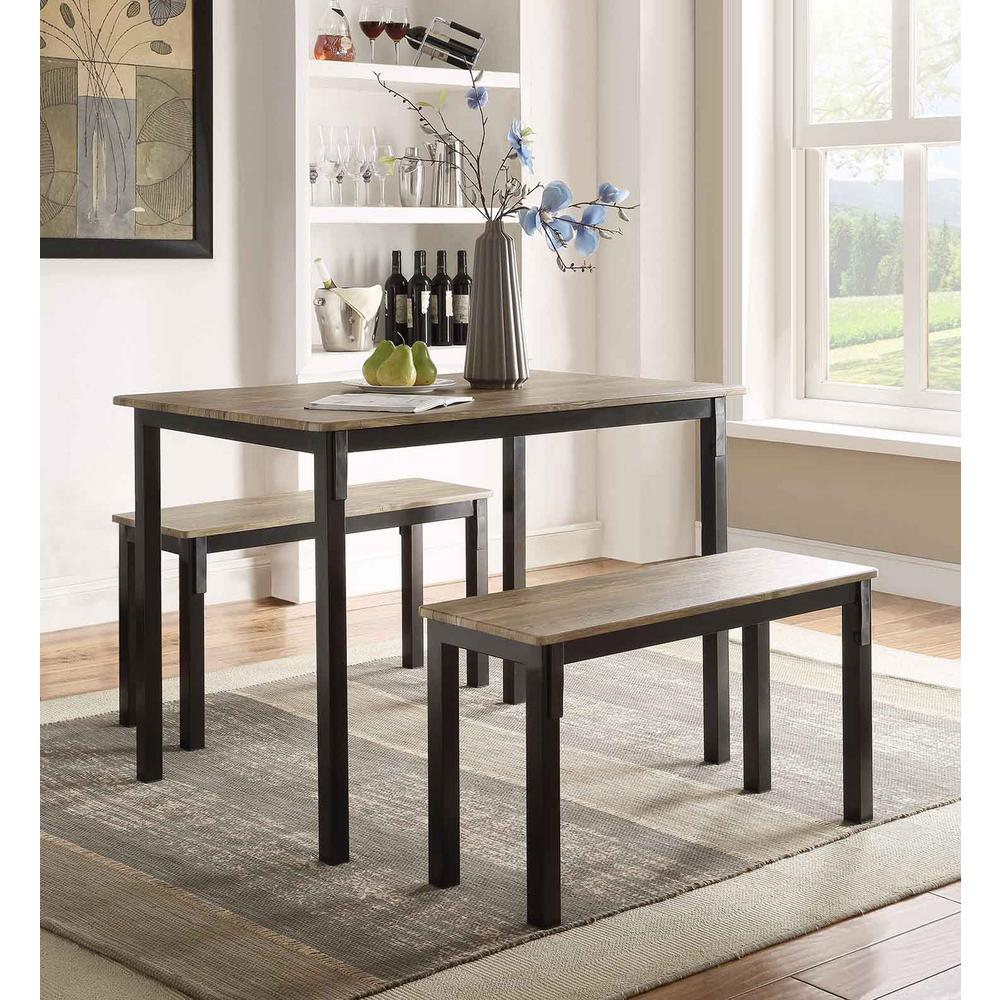 4D Concepts Boltzero 3Piece Walnut and Black Dining Set159356