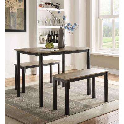 Boltzero 3-Piece Walnut and Black Dining Set