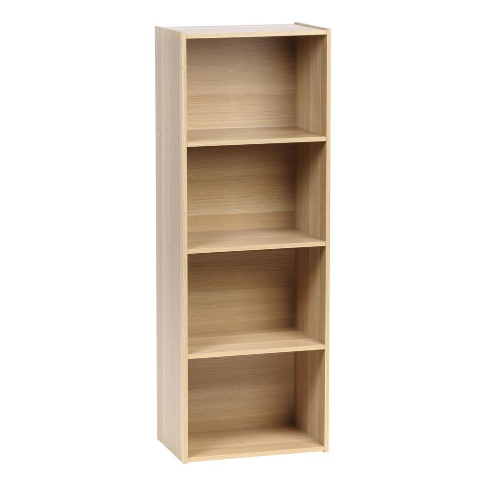 4-Tier Light Brown Wood Storage Shelf