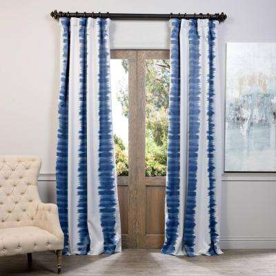 Semi-Opaque Flambe Blue Blackout Curtain - 50 in. W x 108 in. L (Panel)
