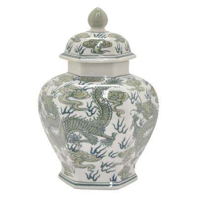 12 in. Ceramic Jar Green and White