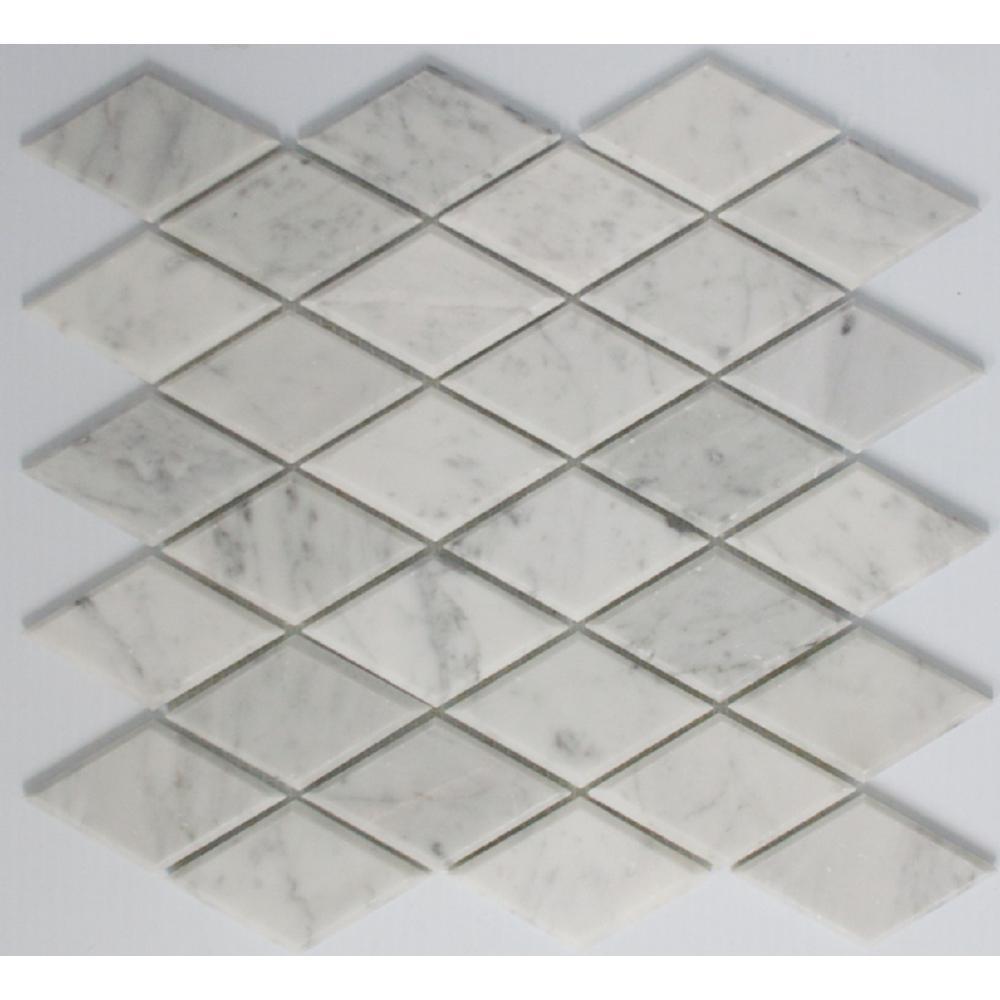 White Floor Diamond Tile Flooring The Home Depot - Diamond shaped tile flooring