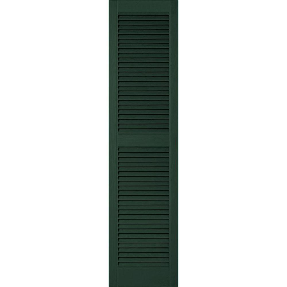 18 in. x 54 in. Lifetime Vinyl Custom Straight Top Center Mullion Open Louvered Shutters Pair Midnight Green