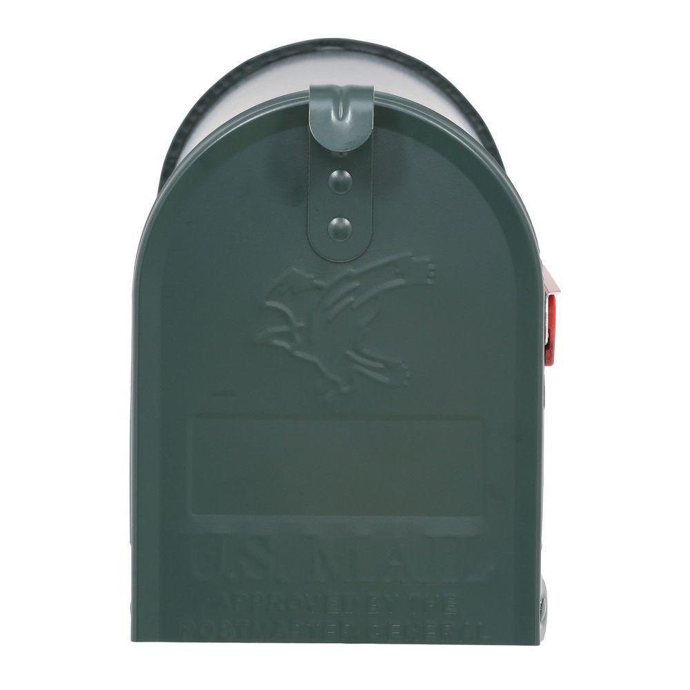 Elite Medium Size Galvanized Steel Post-Mount Mailbox in Green