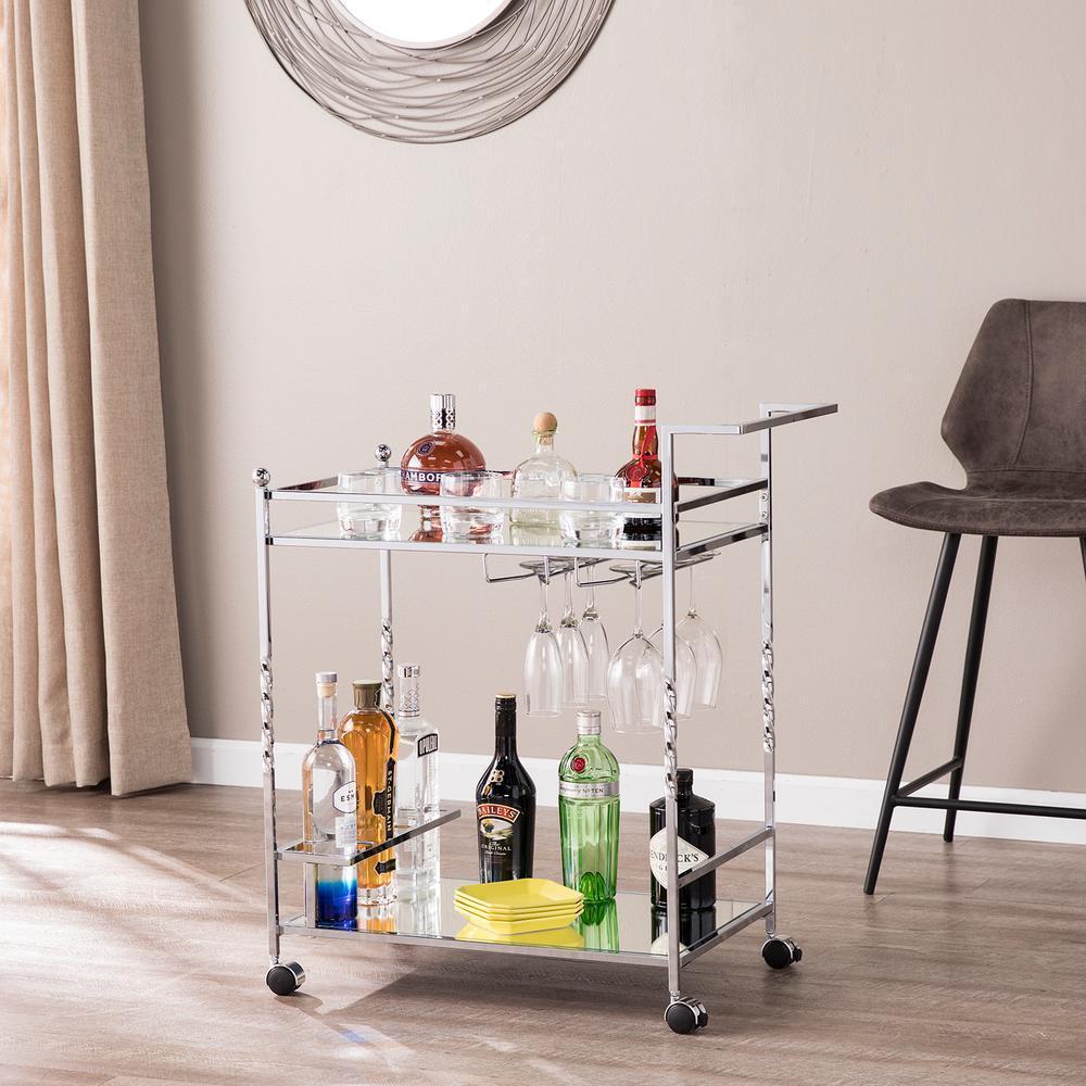 Prindel Chrome Mirrored Bar Cart
