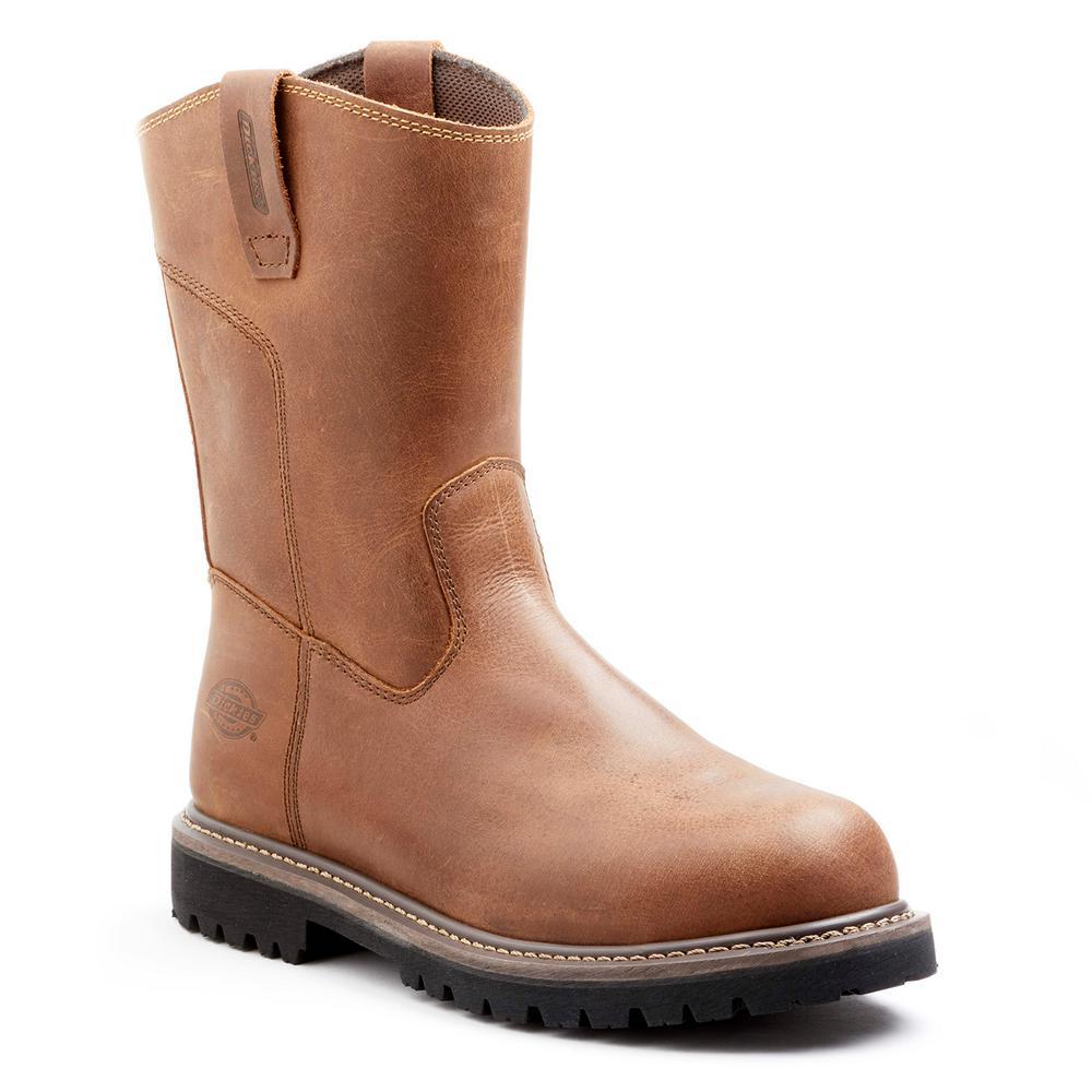 54b55e50f7a Dickies Abbott Men Size 9 Soft Toe Brown Leather Wellington Work Boot