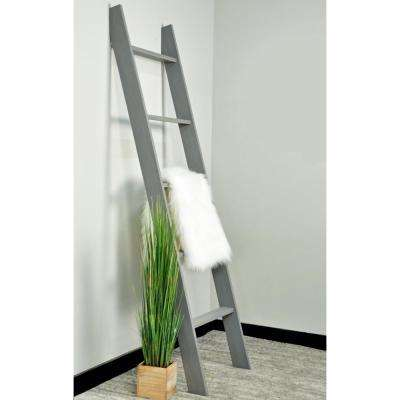 Lucas 72 in. Weathered Gray Wooden Decorative Blanket Ladder