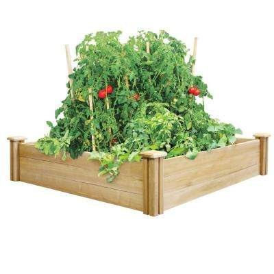 4 ft. x 4 ft. x 10.5 in. Dovetail Cedar Raised Garden Bed
