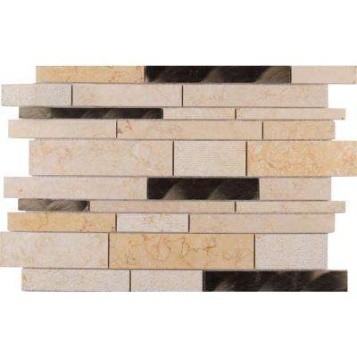 Cairo Blend Interlocking 12 in. x 18 in. x 8 mm Glass Stone Metal Mesh-Mounted Mosaic Tile (15 sq. ft. / case)