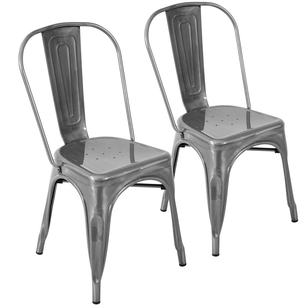 Lumisource Oregon Brushed Silver Stackable Dining Chair Set Of 2