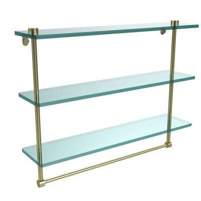 22 in. L  x 18 in. H  x 5 in. W 3-Tier Clear Glass Bathroom Shelf with Towel Bar in Satin Brass