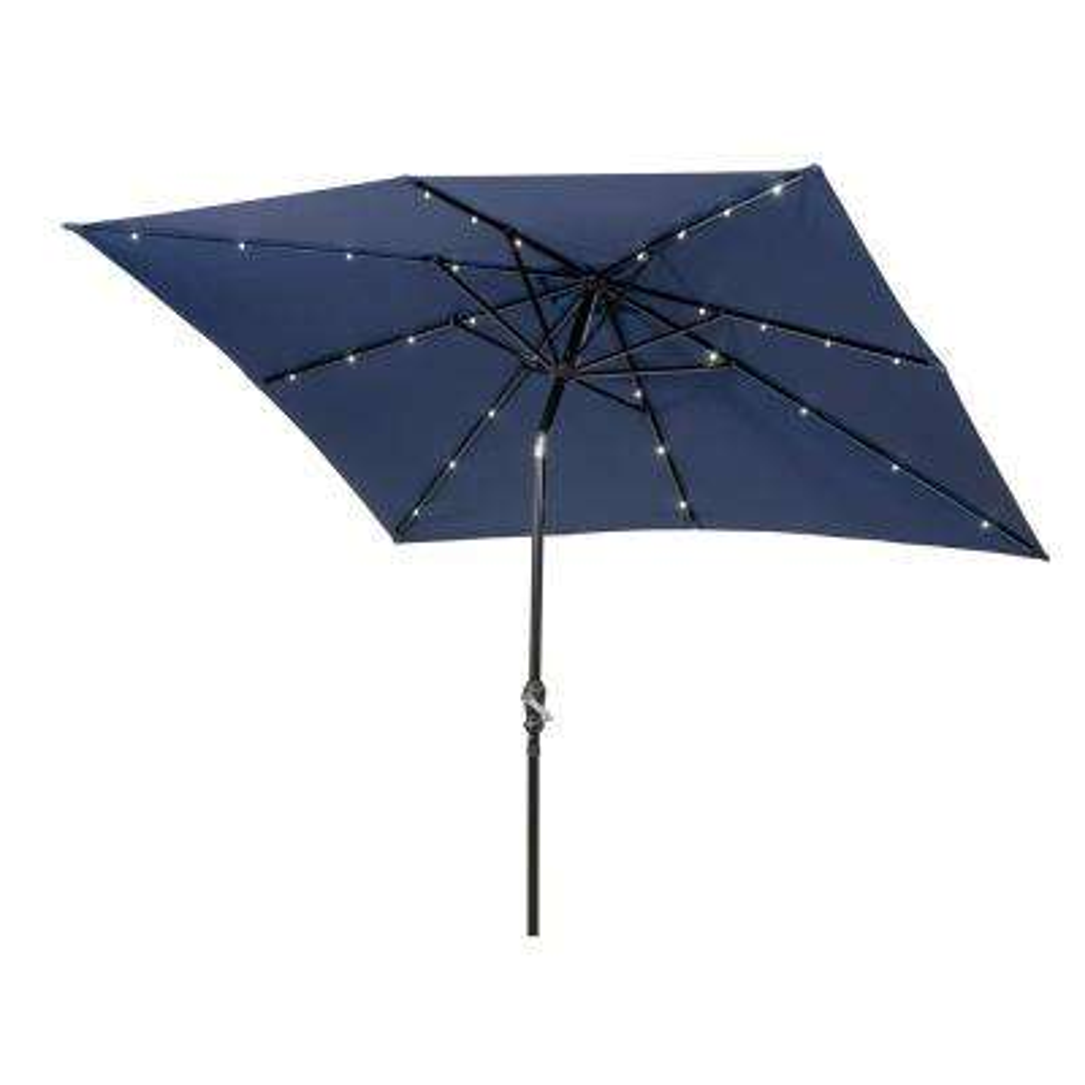 9 ft. x 7 ft. Rectangular Market Solar Lighted Patio Umbrella in Navy