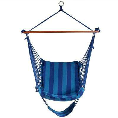 3.5 ft. Fabric Hanging Soft Cushioned Hammock Chair with Footrest in Beach Oasis
