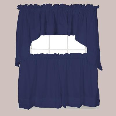 Holden 36 in. L Polyester Tier Curtain in Navy (2-Pack)