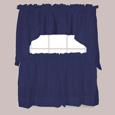 Semi-Opaque Holden 36 in. L Polyester Tier Curtain in Navy (2-Pack)