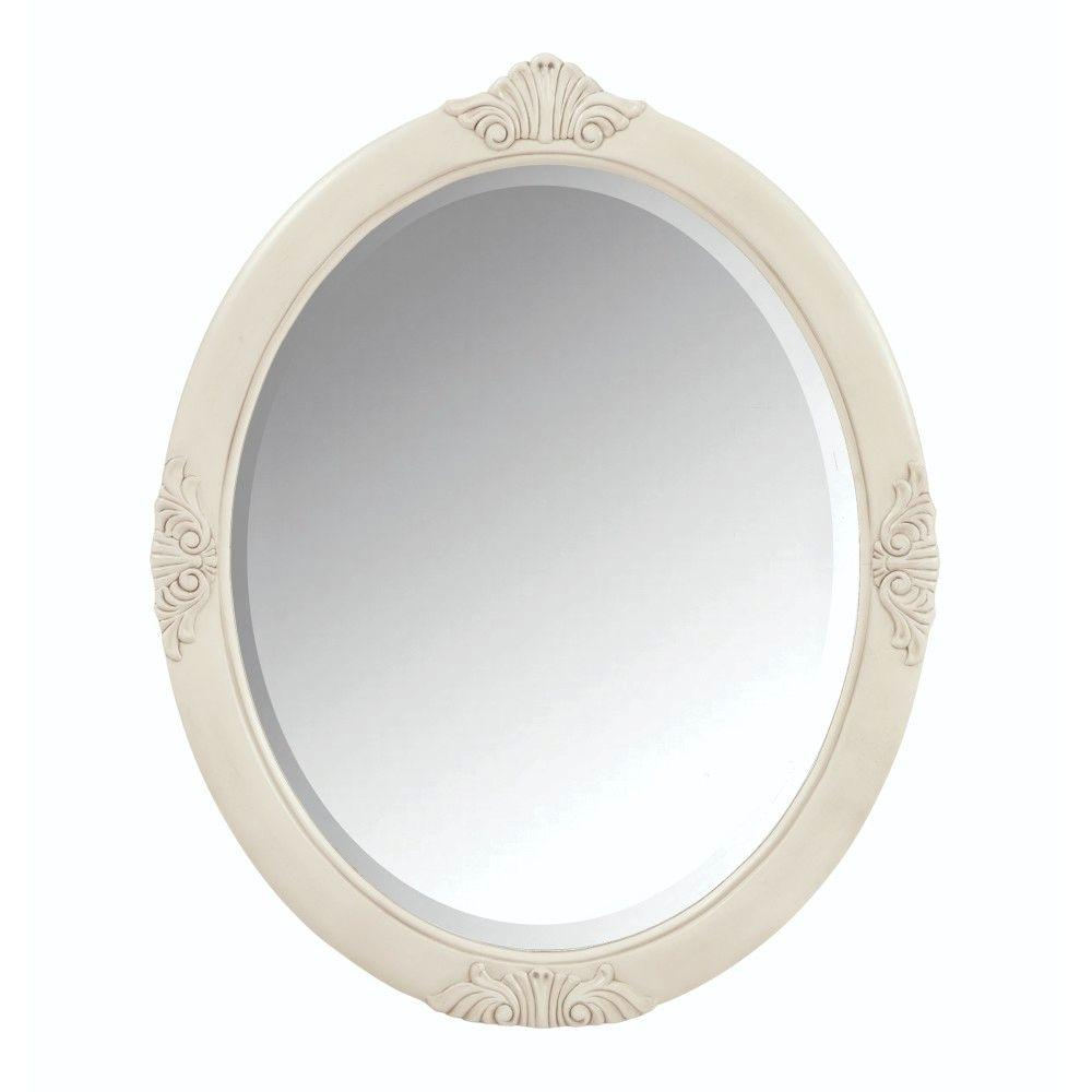 Oval framed bathroom mirrors - H Single Framed Oval Mirror In Antique