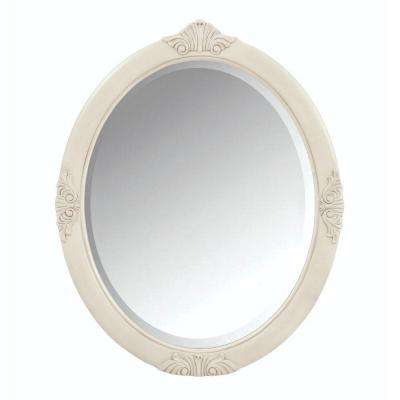 Winslow 30 in. W x 37 in. H Single Framed Oval Mirror in Antique White