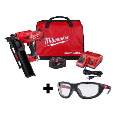 M18 FUEL 3-1/2 in. 18-Volt 21-Degree Lithium-Ion Brushless Framing Nailer Kit and Performance Safety Glasses with Gasket