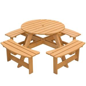 Stained 8-Person Round Wooden Outdoor Patio Garden Picnic Table with Bench