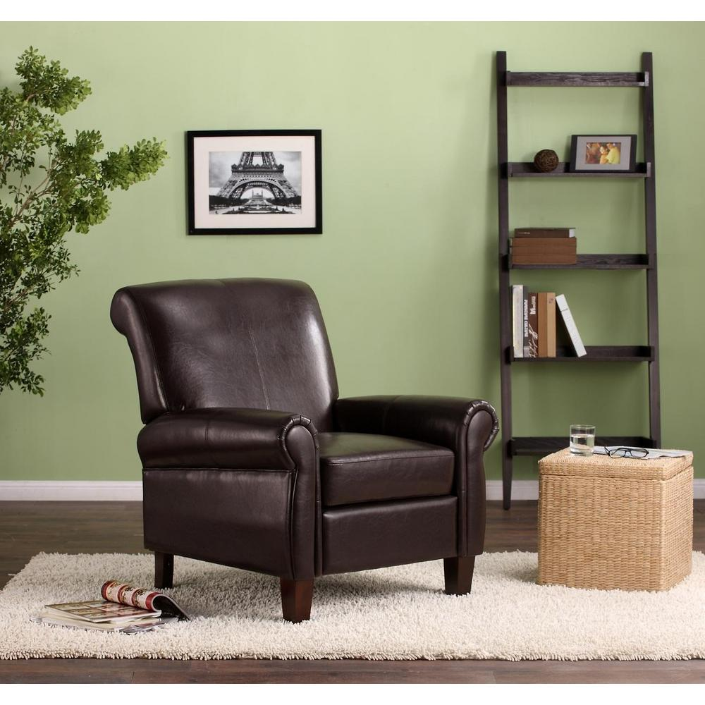Dorel Living Faux Leather Brown Club Chair-FA3129 - The Home Depot