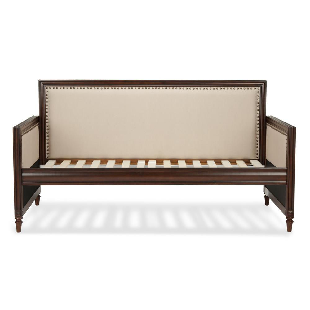 Grandover Espresso Twin-Size Wood Daybed with Nail Head Trim and Cream