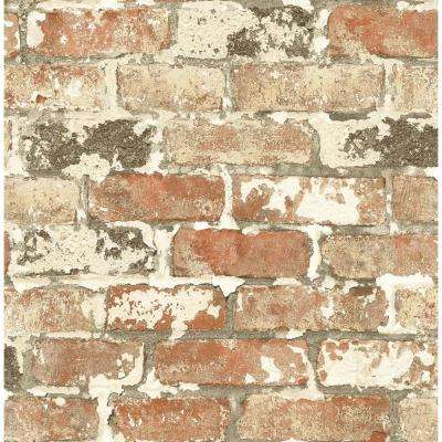 Washed Red Brick Vinyl Peelable Wallpaper (Covers 30.75 sq. ft.)