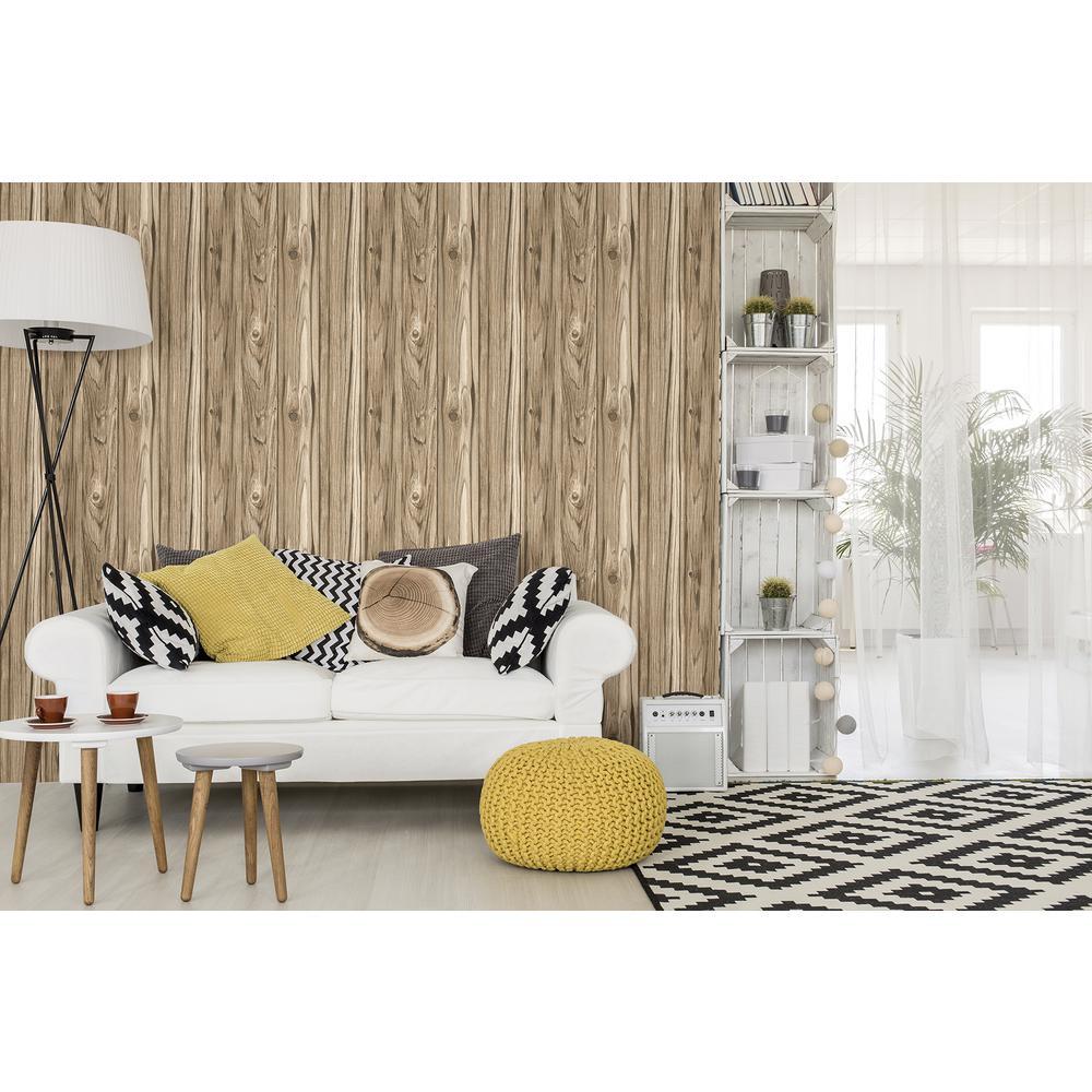 Paneling Brown Wide Plank Wallpaper